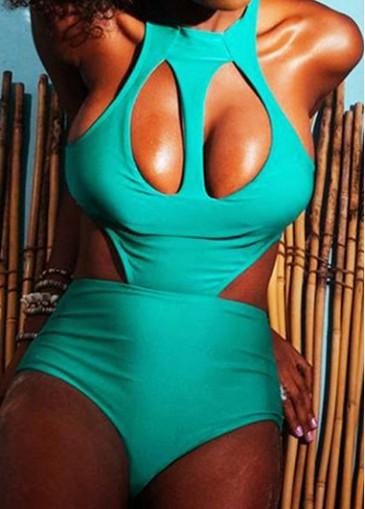 Buy online Cyan Hollow Design One Piece Swimsuit