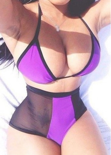 Buy online Black and Purple Two Piece Swimwear