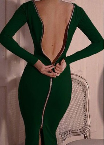 Open Back Zip Decorated Long Sleeve Dress