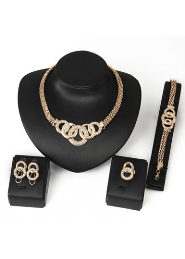 Rhinestone Decorated Gold Metal Necklace Set