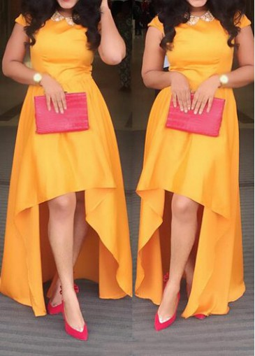 Orange High Low Round Neck Maxi Dress