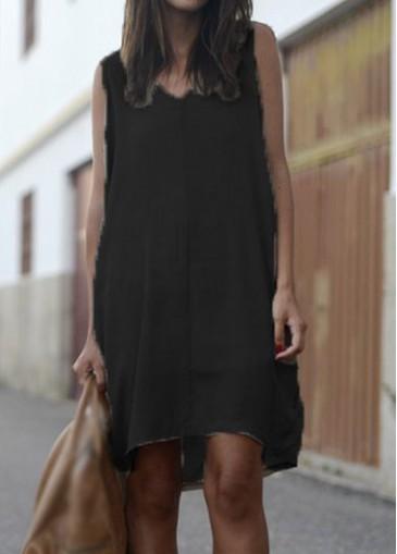 Buy online Black V Neck Sleeveless Asymmetric Mini Dress