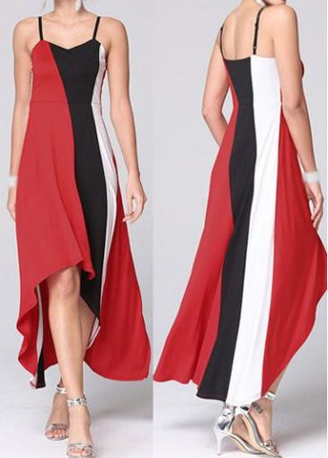 Buy online Color Block Open Back High Low Dress