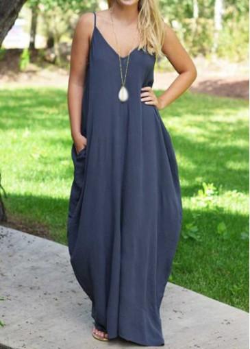 Buy online Navy Blue V Neck Sleeveless Maxi Dress