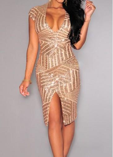 Buy online V Neck Front Slit Champagne Sheath Dress