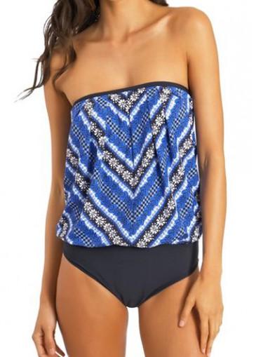 Buy online Tribal Print Strapless Two Piece Swimwear