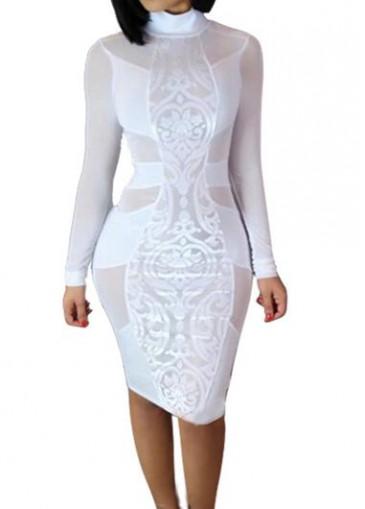Buy online White Long Sleeve Semi Sheer Sheath Dress