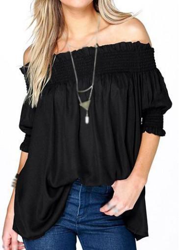 Buy online Half Sleeve Open Back Design Blouse
