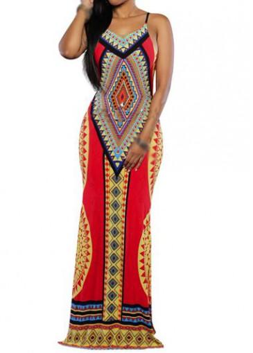 Buy online V Neck Open Back Tribal Print Maxi Dress