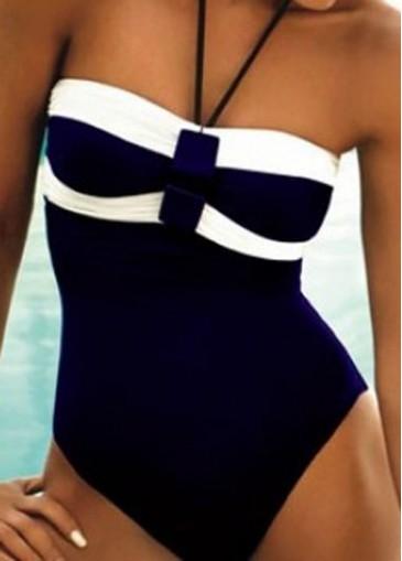 Buy online Navy Blue Halter Neck One Piece Swimwear