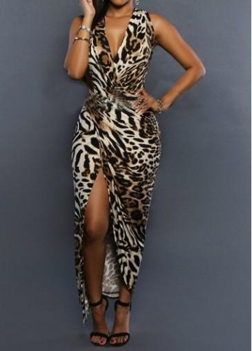 Buy online V Neck Sleeveless Leopard Print High Slit Dress