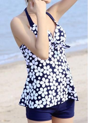 Buy online Open Back Flower Print Navy Blue Swimdresses