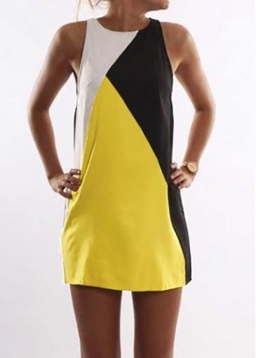 Buy online Round Neck Sleeveless Straight Mini Dress