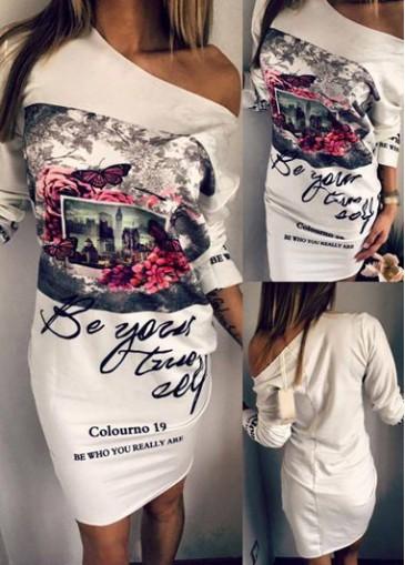 Buy online Letter PrintSkew Neck White Dress