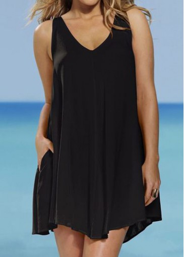 Buy online Plus Size Solid Black Straight Dress