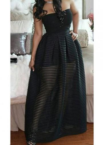 Buy online Black Semi Sheer High Waist Dress