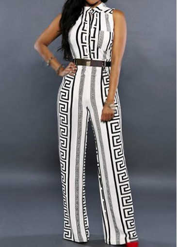 Buy online Sleeveless Belt Design White Printed Jumpsuit