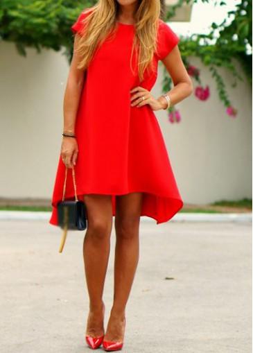 Buy online Open Back Short Sleeve Red Shift Dress