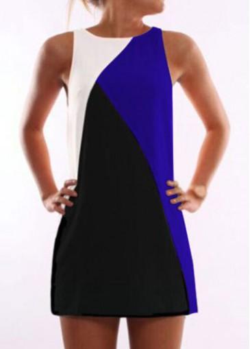 Buy online Sleeveless Black and Royal Blue Mini Dress