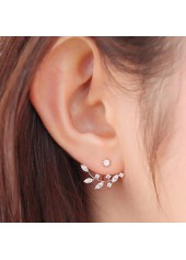 Cutout Design Rhinestone Decorated Metal Earrings