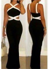 Open Back Sleeveless Black and White Jumpsuits