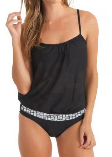 Buy online Open Back Solid Black One Piece Swimwear