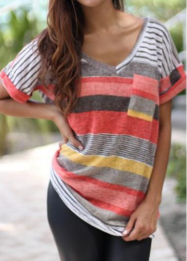 Buy online Red Pocket Design V Neck T Shirt