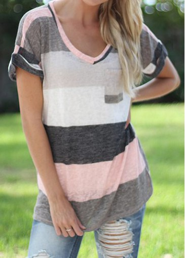Buy online Grey Stripe Print Long T Shirt