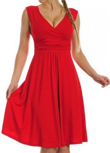 Buy online Red V Neck High Waist Tank Dress