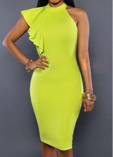 Buy online Solid Yellow Zipper Closure Bodycon Dress
