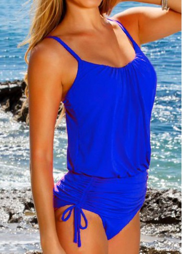 Buy online Spaghetti Strap Royal Blue Ruched One Piece Swimwear
