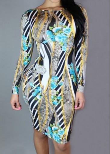 Buy online Round Neck Flower Print Long Sleeve Dress