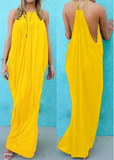 Buy online Hollow Side Solid Yellow Shift Dress