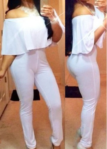 Buy online Solid White Sleeveless Ankle Length Jumpsuit