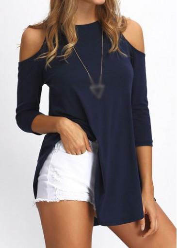 Buy online Three Quarter Sleeve Navy Blue Blouse