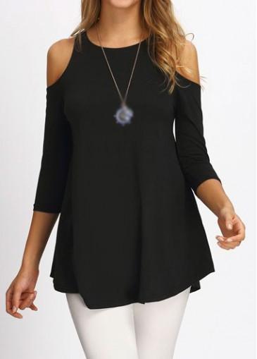 Buy online Cold Shoulder Round Neck Black Blouse