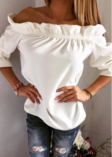 Buy online White Off the Shoulder Flouncing Neck Blouse