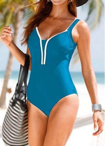 Buy online Sleeveless Open Back Peacock Blue One Piece Swimwear