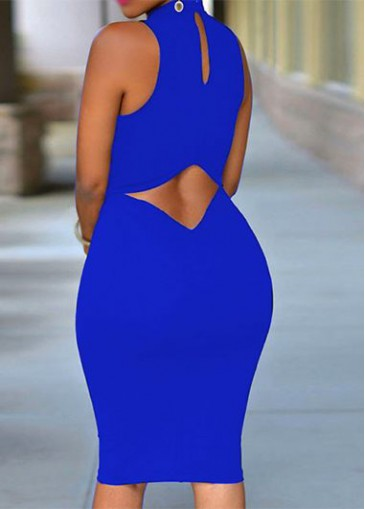 Buy online Royal Blue Cutout Back Sleeveless Bodycon Dress