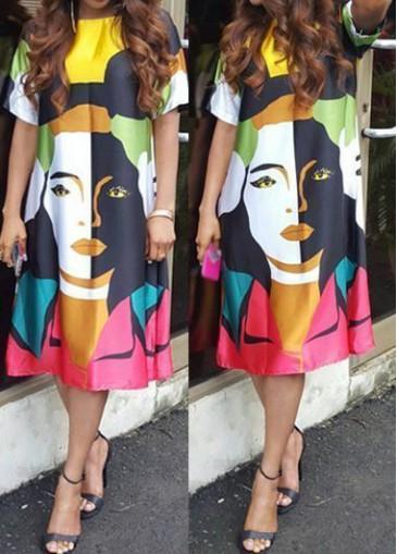 Buy online Multi Color Character Print Knee Length Dress