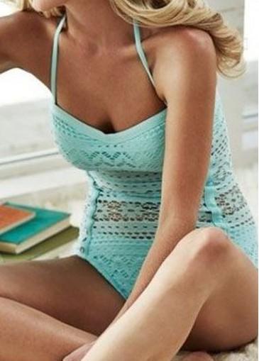 Buy online Cyan Halter Neck Wireless One Piece Swimwear