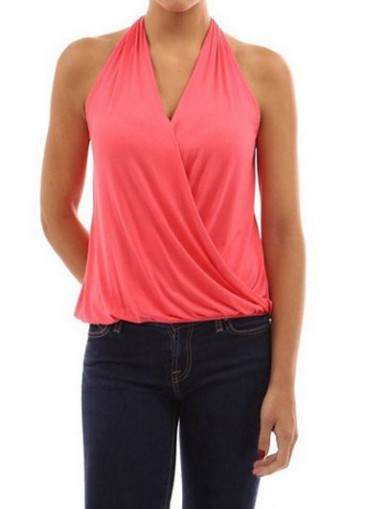 Buy online Watermelon Red V Neck Ruched Blouse