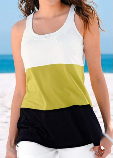 Buy online Round Neck Yellow and Black Tank Top