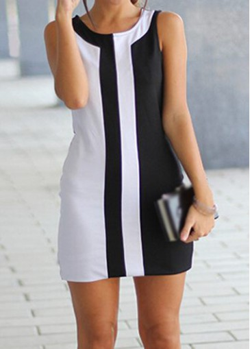 Buy online Sleeveless Round Neck White and Black Mini Dress