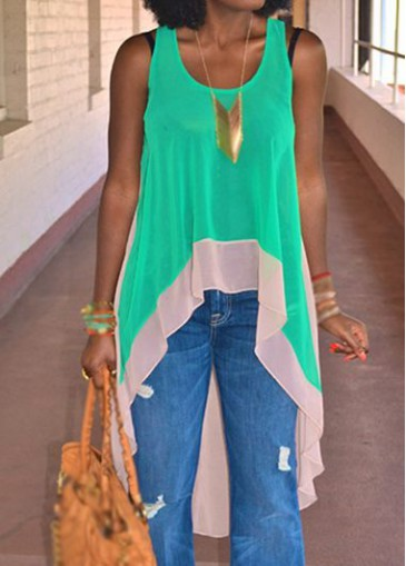 Buy online Color Block Sleeveless Round Neck High Low Blouse