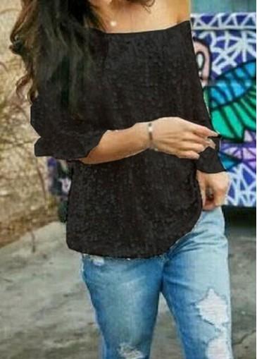 Buy online Black Skew Neck Half Sleeve T Shirt