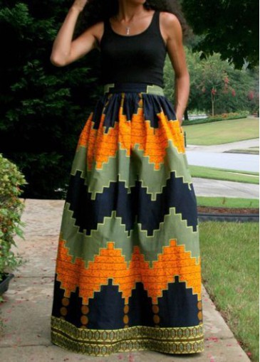 Buy online Sleeveless Round Neck Black Printed Maxi Dress