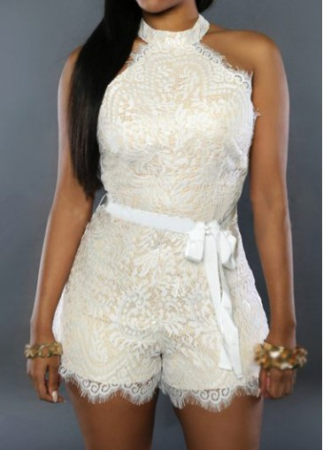 Buy online High Neck Zipper Closure White Rompers
