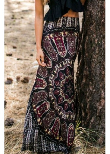 Buy online Black High Waist Tribal Print Maxi Skirt