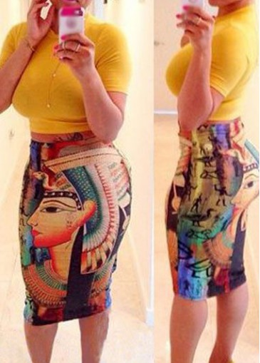Buy online Short Sleeve Top and Printed Skirt